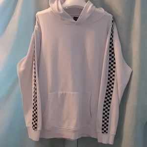Carbon white hoodie with checkered detail